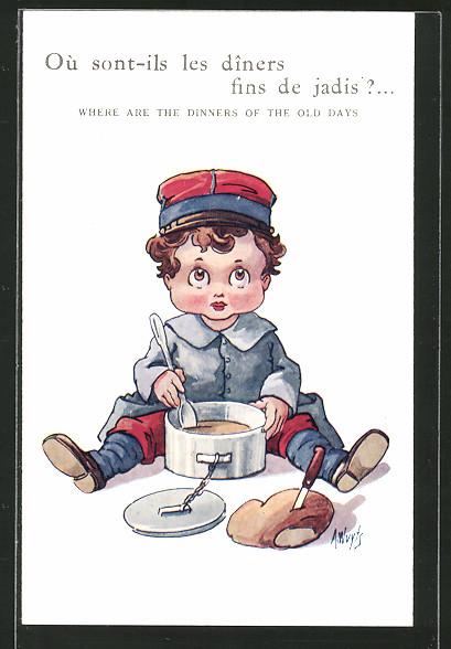 Künstler-AK A. Wuyts: Junge als Soldat isst seine Suppe, Kinder Kriegspropaganda