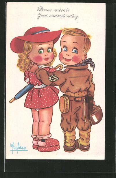 Künstler-AK Bonne entente, kleiner Soldat in Uniform Arm in Arm mit seiner Liebsten