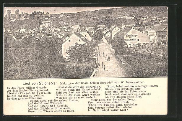 Lithographie Schönecken, Ortsansicht, Lied von Schönecken