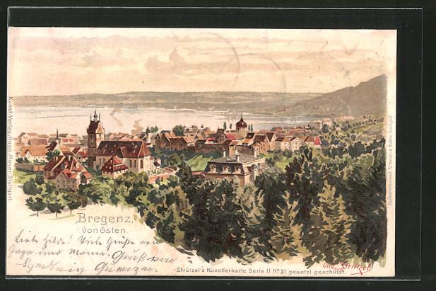 Künstler-AK Otto Strützel: Bregenz, Ortsansicht von Osten mit Kirche und See