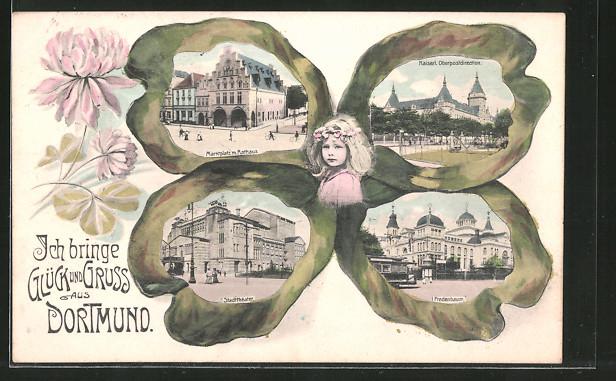 Passepartout-Lithographie Dortmund, Kleeblatt mit Ansichten von Rathaus, Fredenbaum und Stadttheater