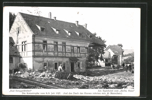ak bad berggiessh bel hotel zum s chsischen haus nach dem hochwasser vom 8 juli 1927 nr. Black Bedroom Furniture Sets. Home Design Ideas