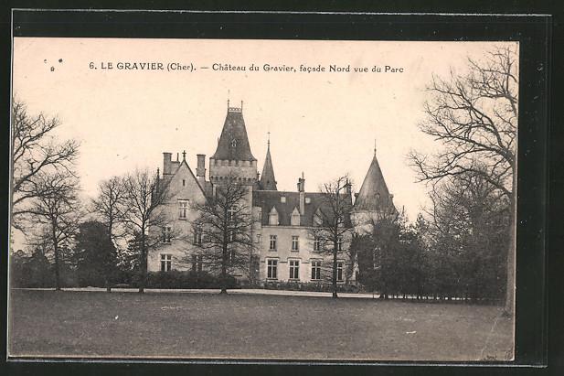 AK Le Gravier, château du Gravier, côté nord vue du parc