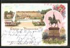 Lithographie Hannover, Schloss Herrenhausen, Ernst-August-Denkmal, Wappen