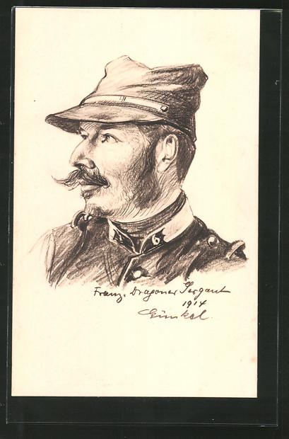 Künstler-AK Französischer Kriegsgefangener des Dragoner-Regiment Nr. 6 in Uniform