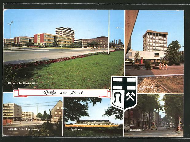 AK Marl, Chemische Werke Hüls, Rathaus, Hügelhaus