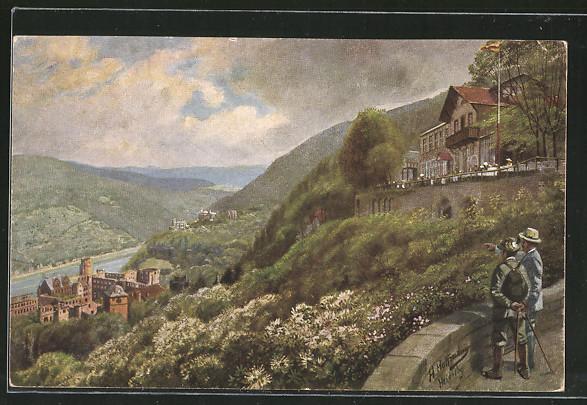 Künstler-AK Heinrich Hoffmann: Heidelberg, Molkenkur mit Blick auf Schloss und Neckar
