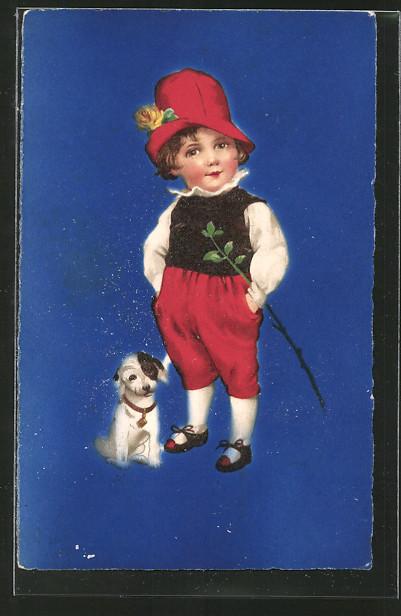 Ak kleiner junge mit seinem hund nr oldthing