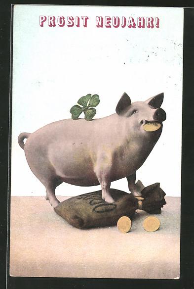 AK Schwein steht auf einem Geldsack und hält eine Münze im Maul - Neujahrsgruss