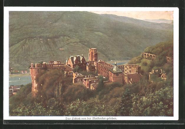 Künstler-AK Heinrich Hoffmann: Heidelberg, das Schloss von der Molkenkur gesehen