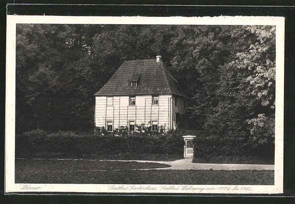 ak weimar ansicht von goethe 39 s gartenhaus nr 6245084 oldthing adel pers nlichkeiten. Black Bedroom Furniture Sets. Home Design Ideas