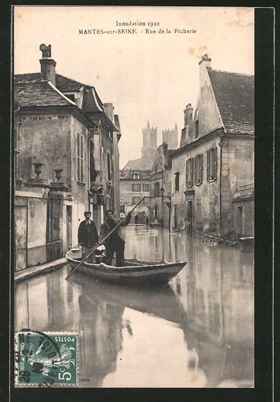 AK Mantes-sur-Seine, Inondation 1910, Rue de la Pêcherie, Hochwasser