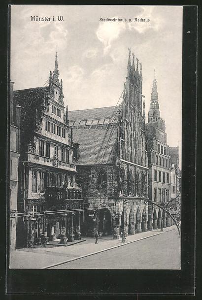 AK Münster, Stadtweinhaus und Rathaus
