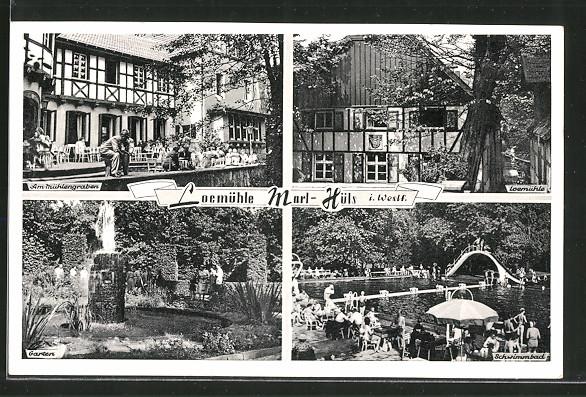 AK Marl-Hüls, Loemühle, Garten, Schwimmbad