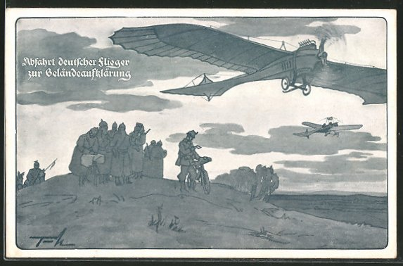 Künstler-AK Abfahrt deutscher Flieger zur Geländeaufklärung,Flugzeug Rumpler Taube