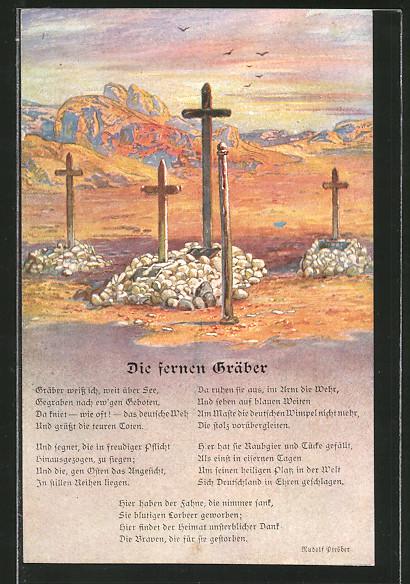 AK Deutsche Soldatengräber in Südwestafrika, Kolonialkriegerdank