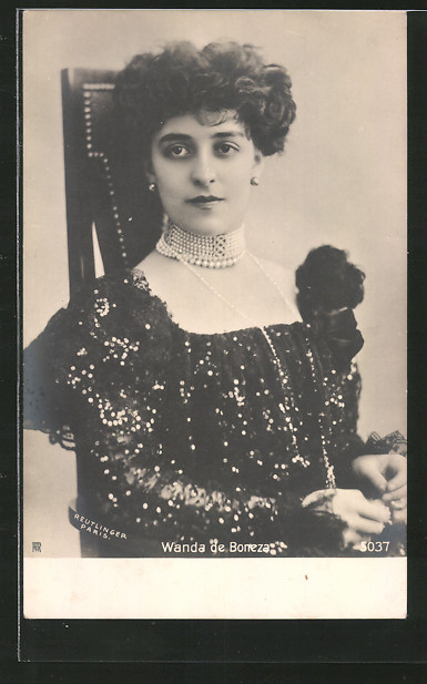 Foto-AK Atelier Reutlinger, Paris, Schauspielerin Wanda de Boncza im Kleid