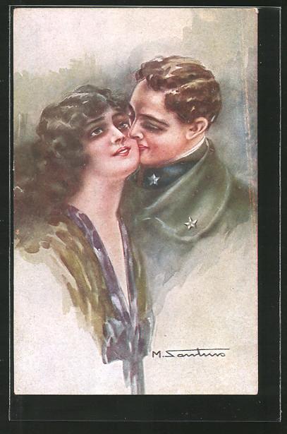 Künstler-AK M. Santino: italienischer Soldat küsst Fräulein auf die Wange