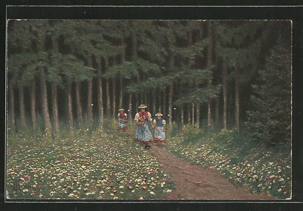 Künstler-AK E. Harbers: Schwarzwälderinnen in der Natur