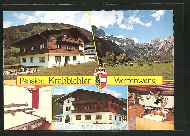 AK Werfenweng, Pension Krahbichler im Tennengebirge, Wappen