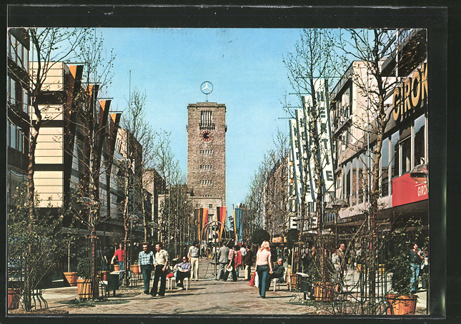 Ak Stuttgart Untere Königstrasse Mit Blick Nach Dem Uhren Turm Nr