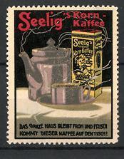 Reklamemarke Seelig's Kornkaffee, Kaffeekanne & Packung Kaffee