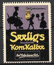 Reklamemarke Seelig's Kornkaffee, Silhouette Kinder beschenken ihre Mutter
