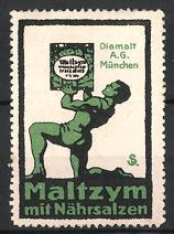 Künstler-Reklamemarke Sigmund von Suchodolski, München, Maltzym mit Nährsalzen, Diamalt AG, Athlet stemmt Packung