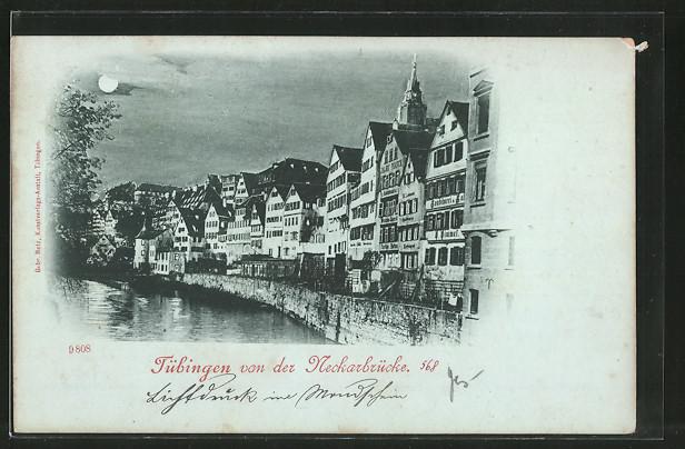 Mondschein-AK Tübingen, Teilansicht von der Neckarbrücke
