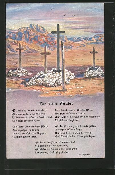 AK Kolonialkriegerdank, Die fernen Gräber, Deutsche Soldatengräber in Südwestafrika