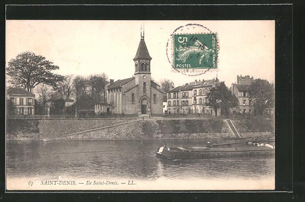 AK Saint-Denis, Ile Saint-Denis, l'eglise, Lastkahn