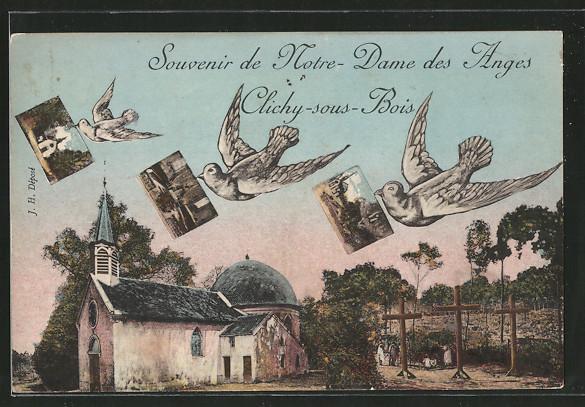 AK Clichy-sous-Bois, Eglise Notre-Dame des Anges, Tauben