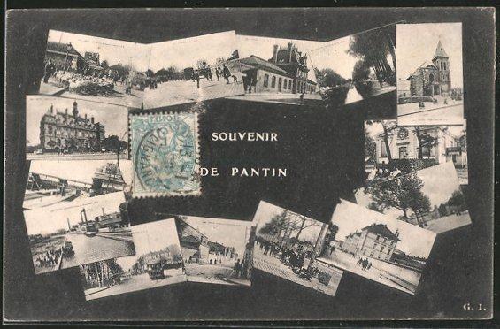 AK Pantin, Souvenir de Pantin, L'Église, Mairie, Canal