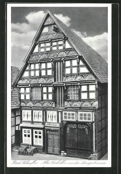 ak bad salzuflen altes giebelhaus an der langestrasse nr. Black Bedroom Furniture Sets. Home Design Ideas