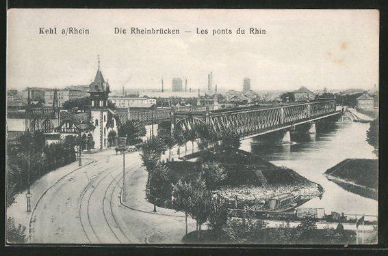 AK Kehl, die Rheinbrücken