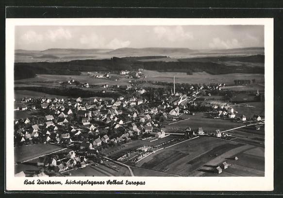 AK Bad Dürrheim, Fliegeraufnahme von Ort und Umgebung
