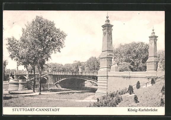 AK Stuttgart-Cannstatt, Partie an der König-Karlsbrücke
