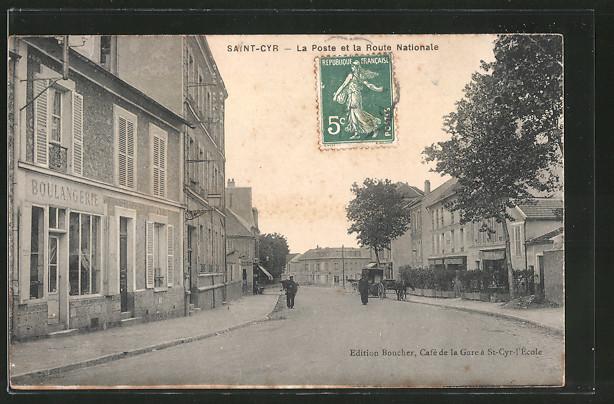 AK Saint-Cyr, la poste et la route Nationale, boulangerie