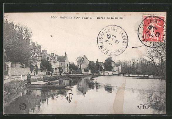 AK Samois-sur-Seine, Bords de la Seine, Boote am Seine-Ufer