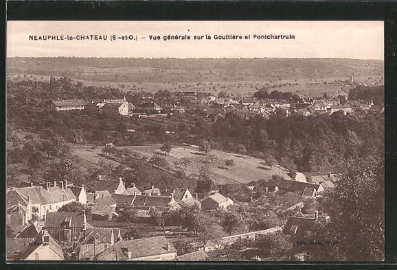 AK Neauphle-le-Chateau, vue générale sur la gouttière et Pontchartrain