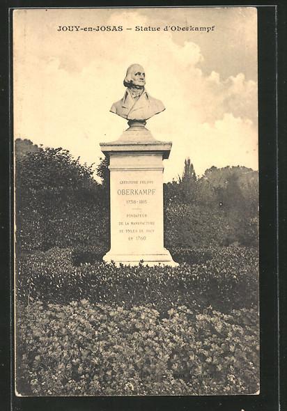 AK Jouy-en-Josas, statue d'Oberkampf