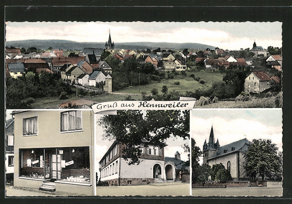 AK Hennweiler, Ortsansicht, Kirche und Geschäft
