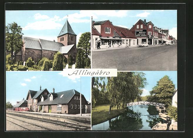 AK Allingabro, Kirche, Bahnhof, Blick in eine Geschäftsstrasse