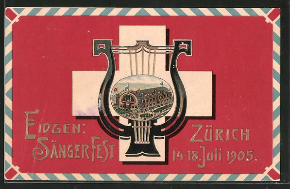 Präge-AK Zürich, Eidgen. Sängerfest 1905, Festgelände in einer Harfe