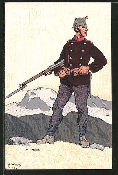 Künstler-AK Carl Moos: schweizerische Grenzbesetzung 1914, schweizer Infanterist in Uniform mit Gewehr hält Wacht