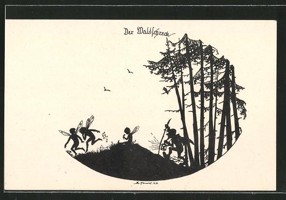Künstler-AK Elsbeth Forck: Schattenbilder, Aus dem Gnomen- und Elfenreich, Der Waldschreck