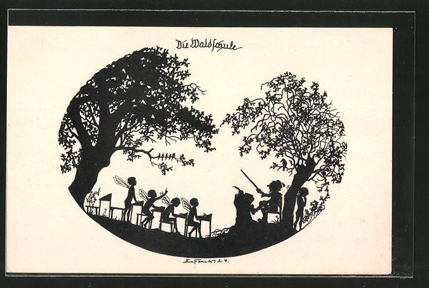 Künstler-AK Elsbeth Forck: Schattenbilder, Die Waldschule, Aus dem Gnomen- und Elfenreich