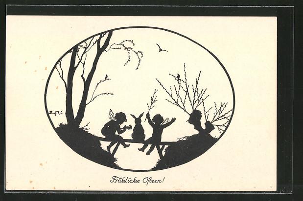 Künstler-AK Elsbeth Forck: Schattenbilder, Ostern, Elfen mit Kaninchen