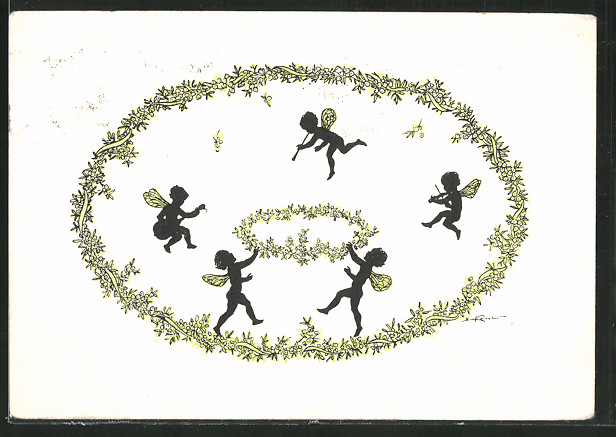 Künstler-AK Elsbeth Forck: kleine Feen mit Blüten
