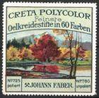 Reklamemarke Creta Polycolor Oelkreidestifte, Johann Faber, Landschaftsidylle im Herbst